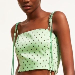 ZARA Satin Polka Dot Crop Top